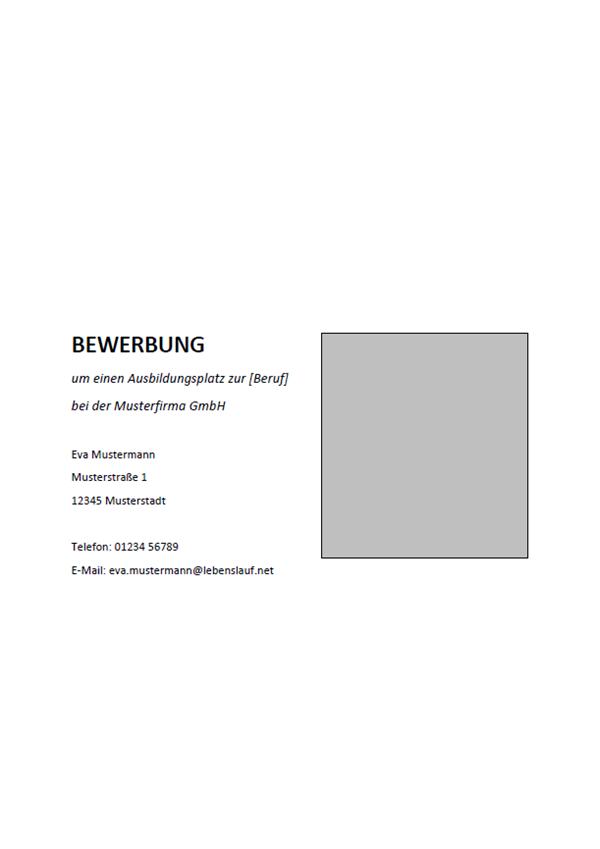Vorlage / Muster: Deckblatt Ausbildung