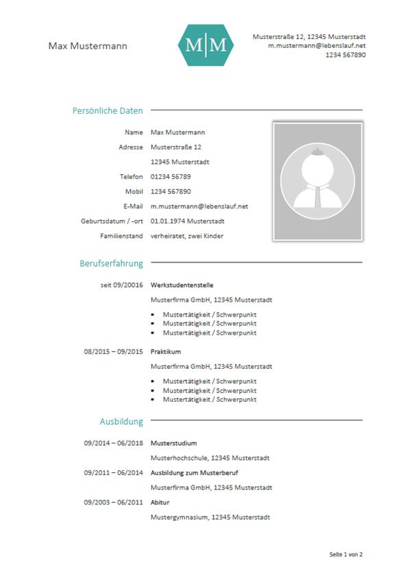 Vorlage / Muster: Lebenslauf Berufseinsteiger