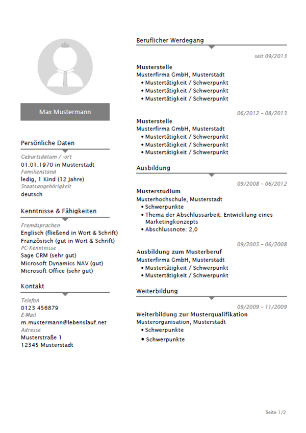 ufbau layout 2. lebenslauf vorlage studenten the job agency jobs ...