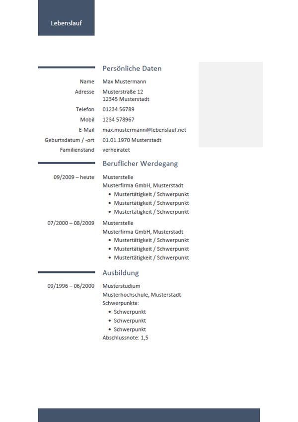 Vorlage / Muster: Lebenslauf-Vorlage